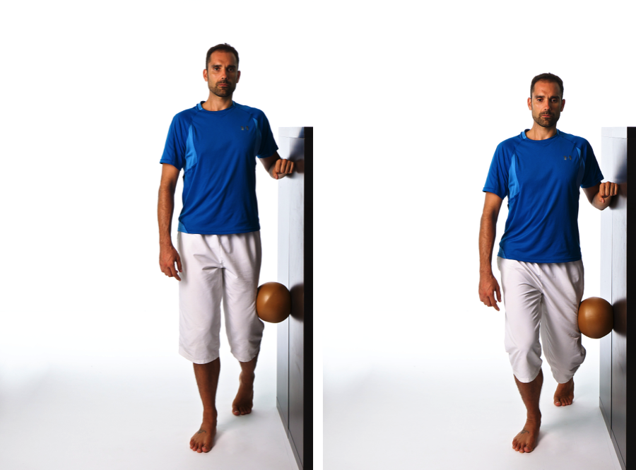 hamstring strain wall standing exercise