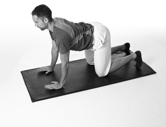 4 point kneeling with slight bend of elbows